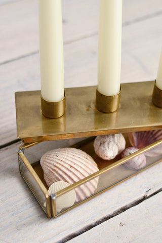 Brass box candle holder