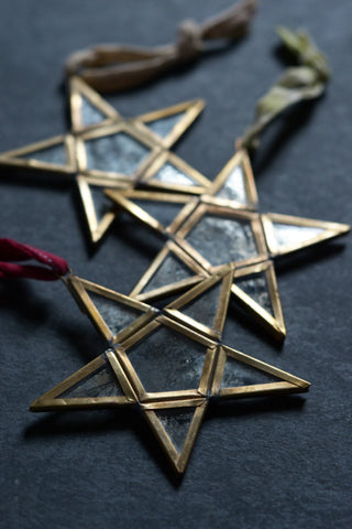 Mirror star tree decorations: set of three