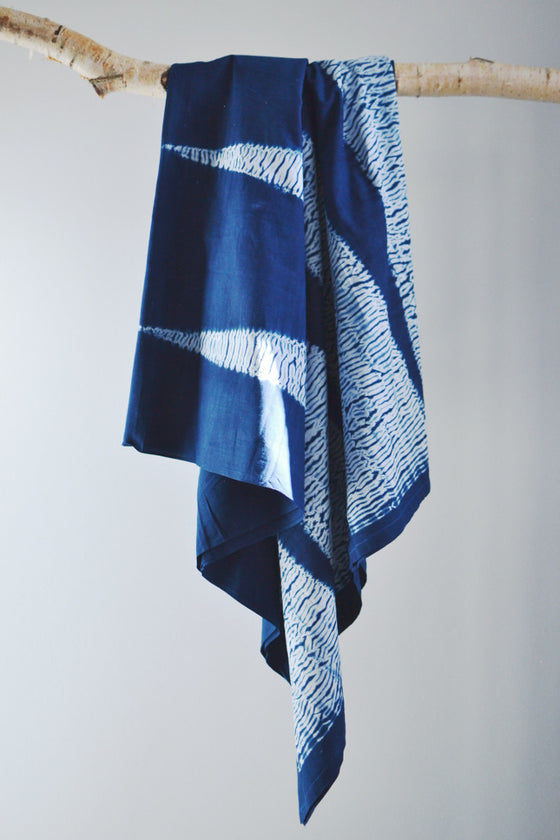Indigo Shibori Throw: Beam - Throws and Quilts - Decorator's Notebook