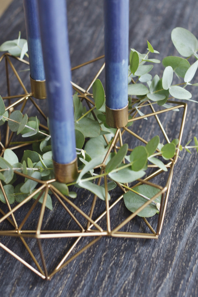 Geometric brass candle holder - Décor and Vases - Decorator's Notebook