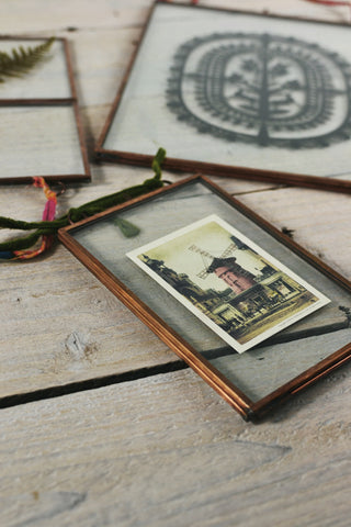 Double sided picture frame: hanging copper