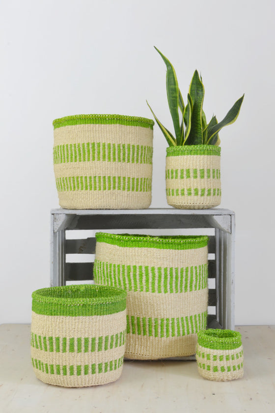 Green Stripe Kenyan baskets (choice of 5 sizes)