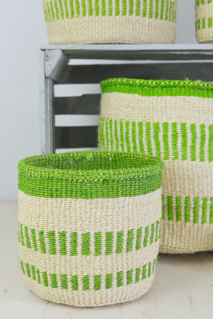 - Green Stripe Kenyan baskets (choice of 5 sizes) - Baskets and Storage - Decorator's Notebook