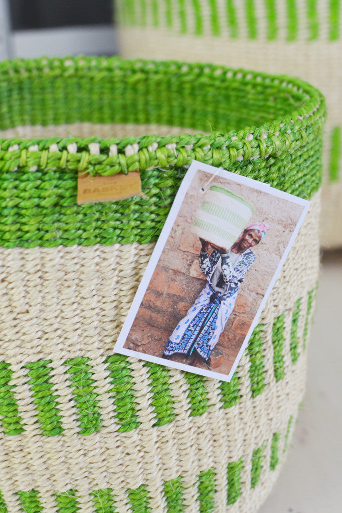 Green Stripe Kenyan baskets (choice of 5 sizes) - Baskets and Storage - Decorator's Notebook