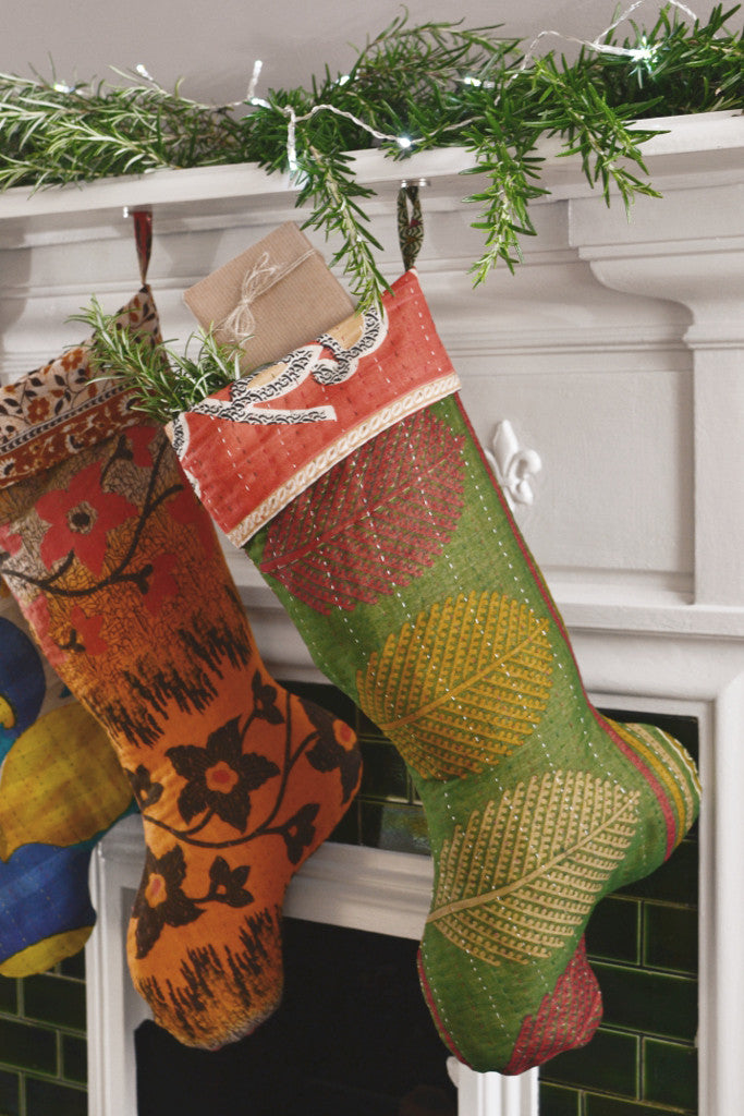 Recycled sari Christmas stocking
