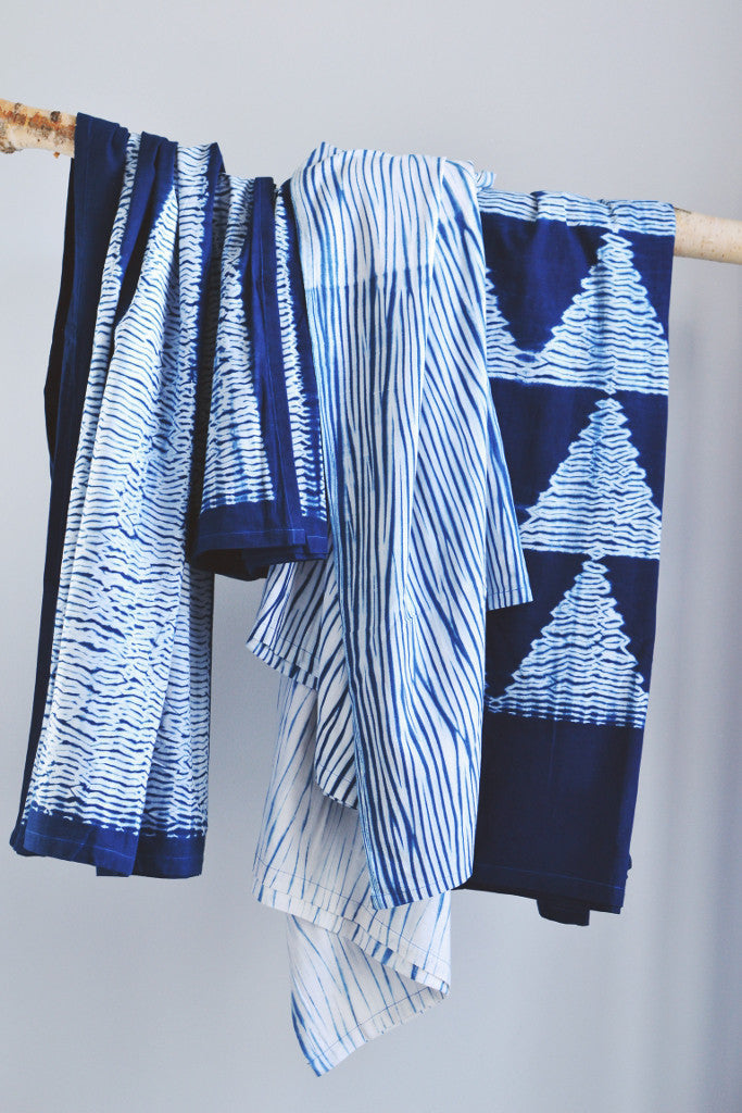 Indigo Shibori Throw: Ripple - Throws and Quilts - Decorator's Notebook