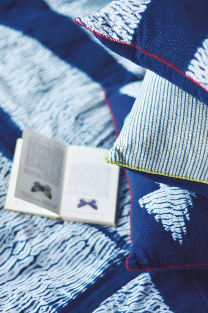 Indigo Shibori Throw: Arrow - Throws and Quilts - Decorator's Notebook