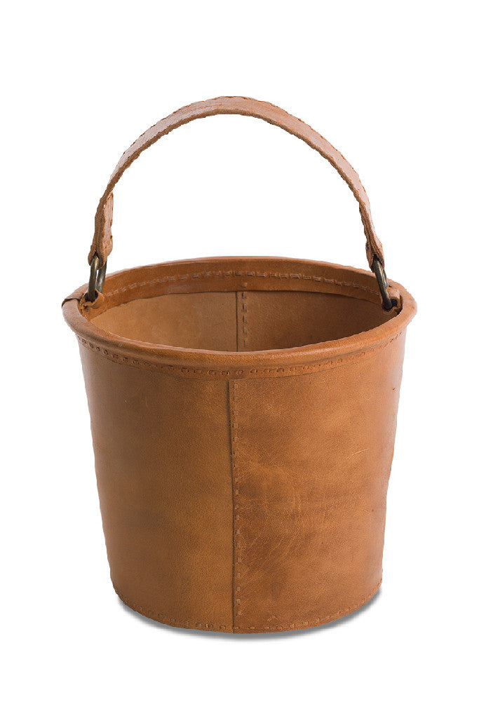Brown leather storage bucket