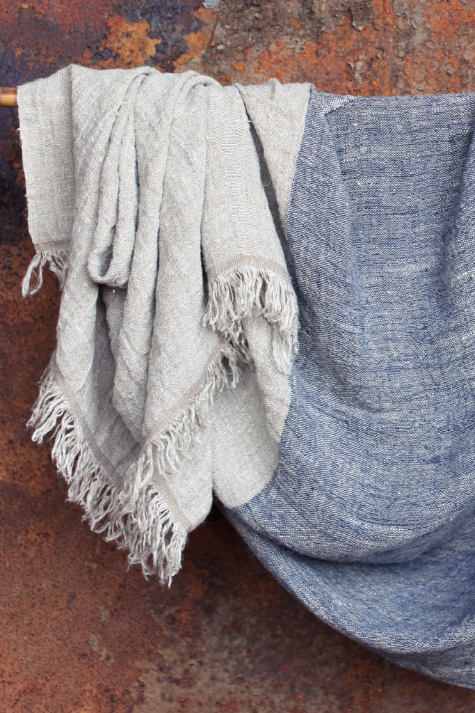 Blue and Natural Linen Throw