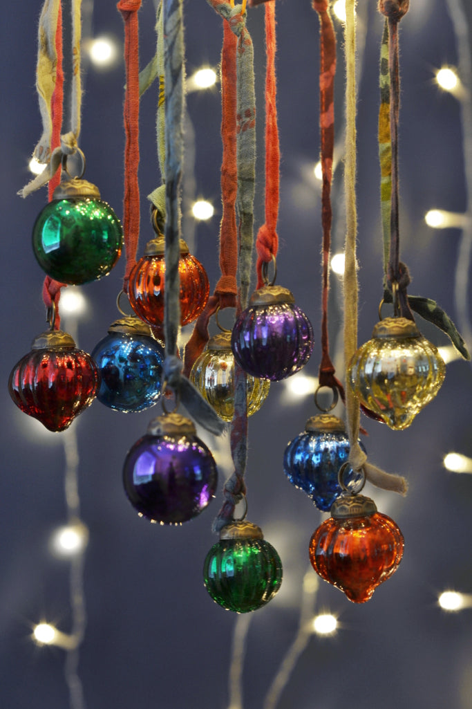 Mini coloured glass baubles: set of twelve - Christmas - Decorator's Notebook