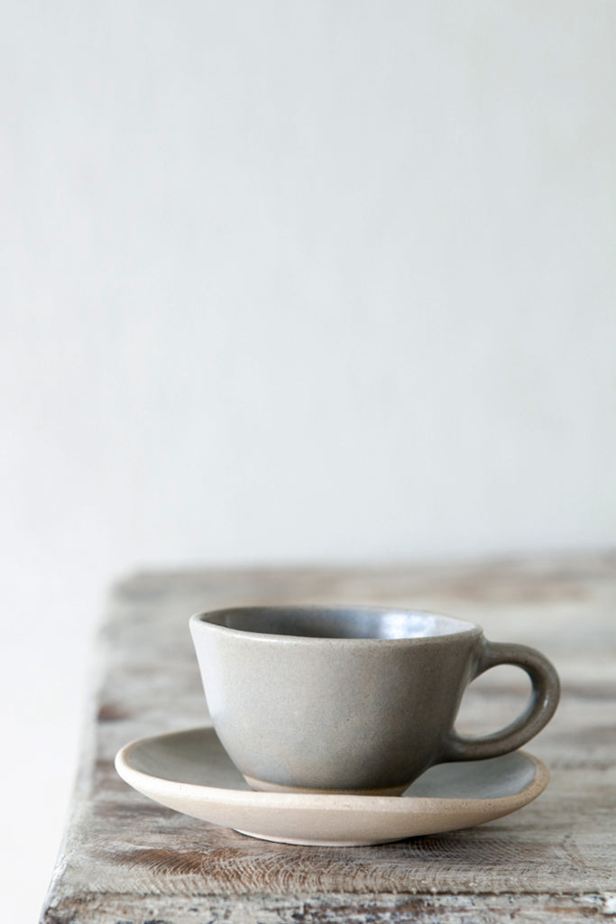 Organic espresso cup and saucer: Mushroom - Kitchen and Tableware - Decorator's Notebook
