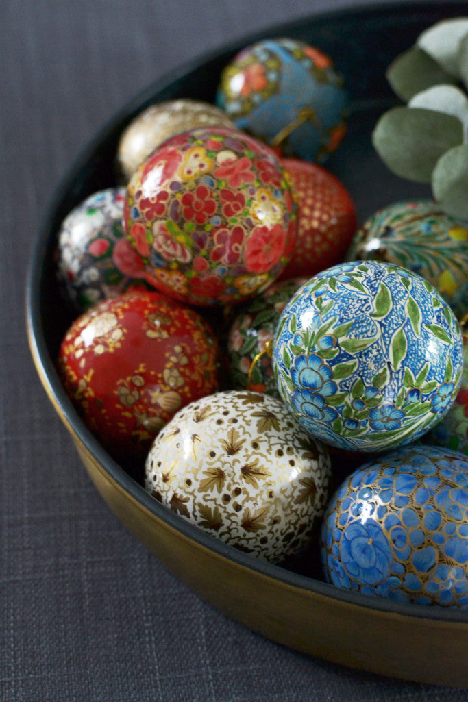 Four hand-painted baubles: Red and Gold - Christmas - Decorator's Notebook