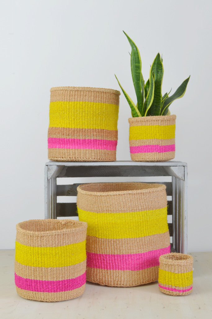 Yellow and Pink Kenyan baskets (choice of 5 sizes) - Baskets and Storage - Decorator's Notebook