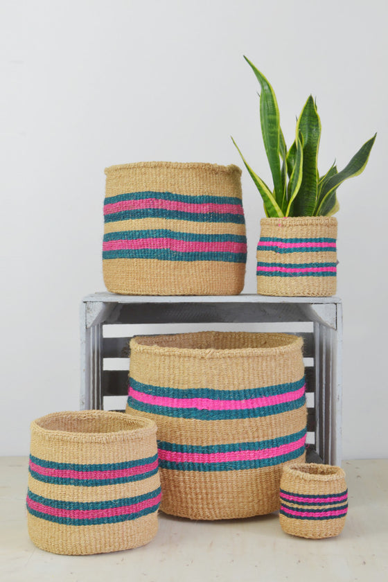 Turquoise and Pink Kenyan baskets (choice of 5 sizes) - Baskets and Storage - Decorator's Notebook