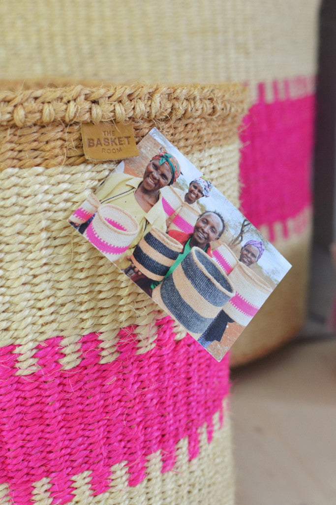 Pink and Sand Kenyan baskets (choice of 5 sizes)