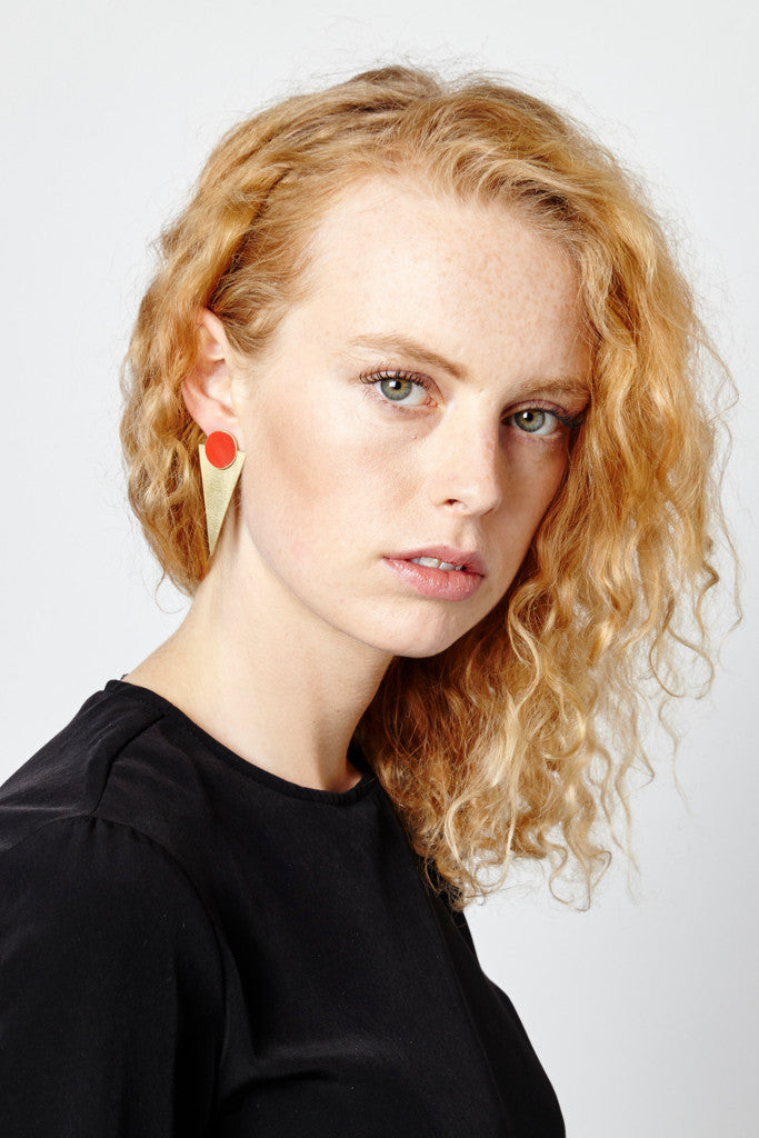 Red Statement Stud earrings