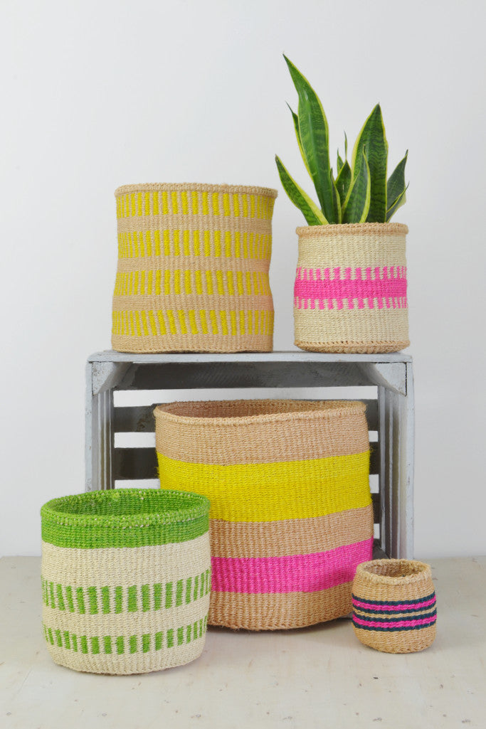 - Yellow and Pink Kenyan baskets (choice of 5 sizes) - Baskets and Storage - Decorator's Notebook