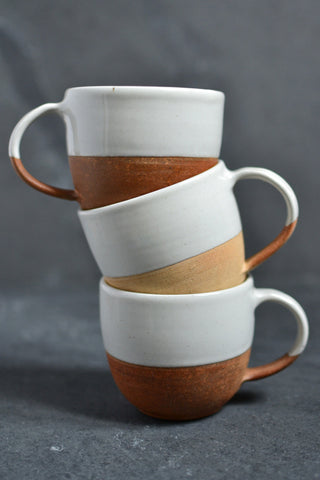 Dipped terracotta cup: white