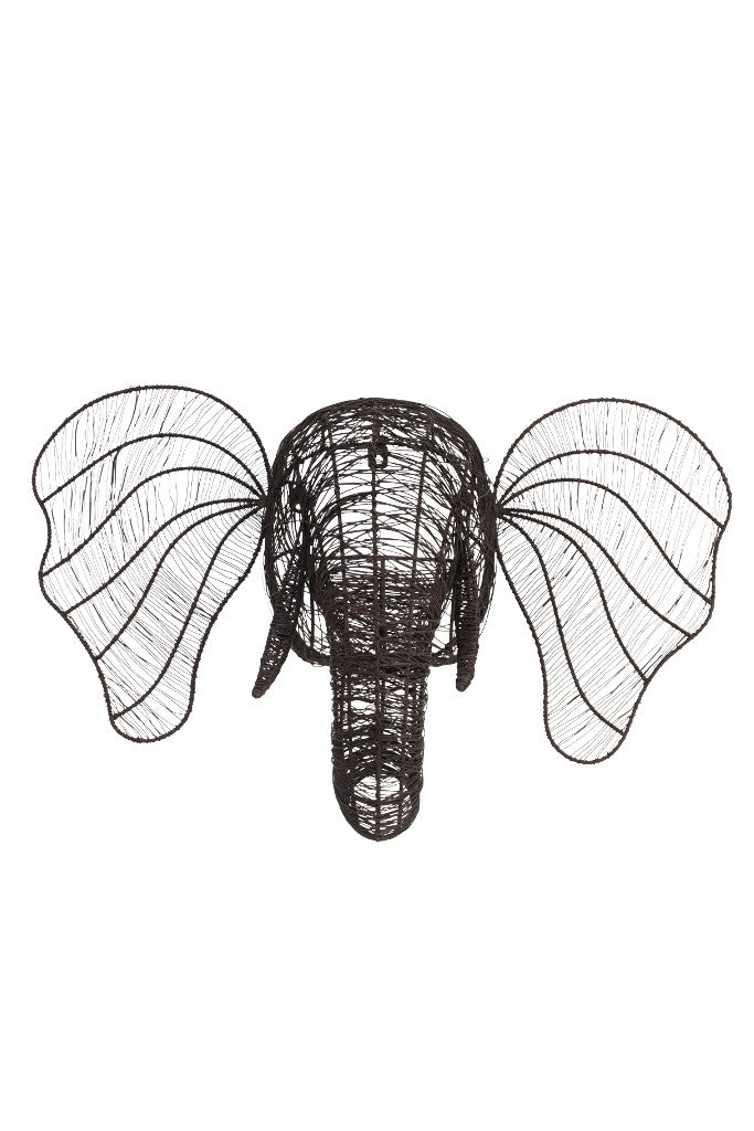 Wire Elephant head wall sculpture - Wall Art - Decorator's Notebook