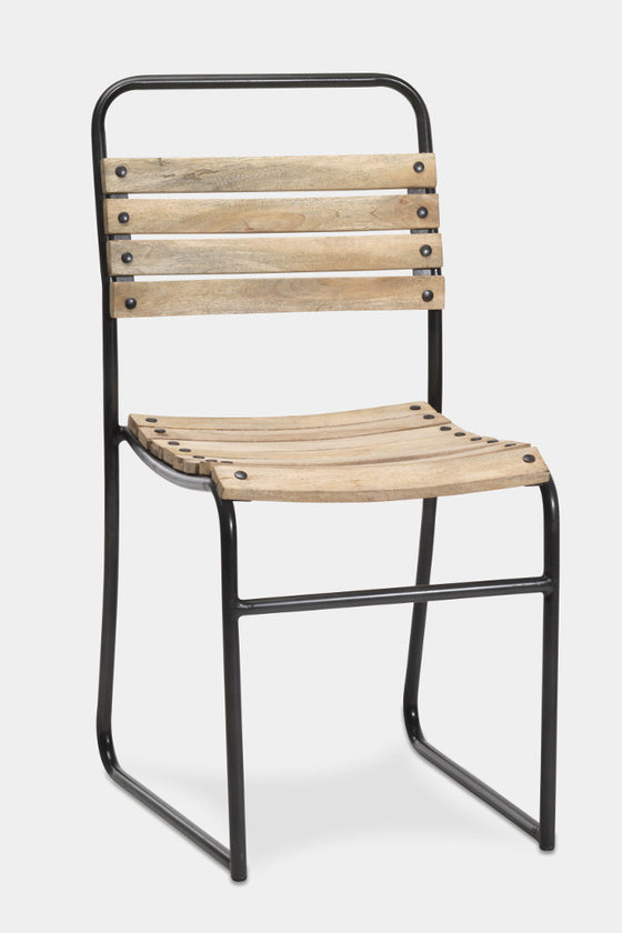 'Dema' slatted wood and iron dining chair
