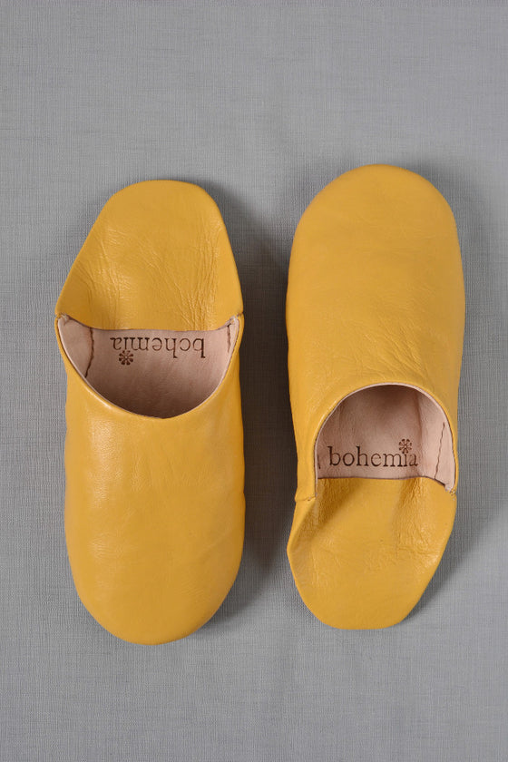 Ladies Moroccan leather slippers: Mustard - Slippers - Decorator's Notebook