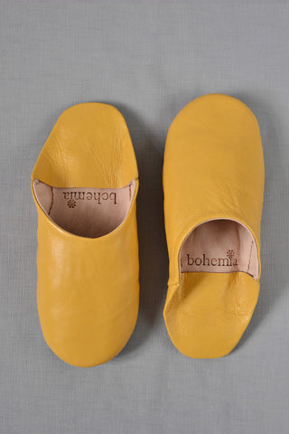 Ladies Moroccan leather slippers: Mustard