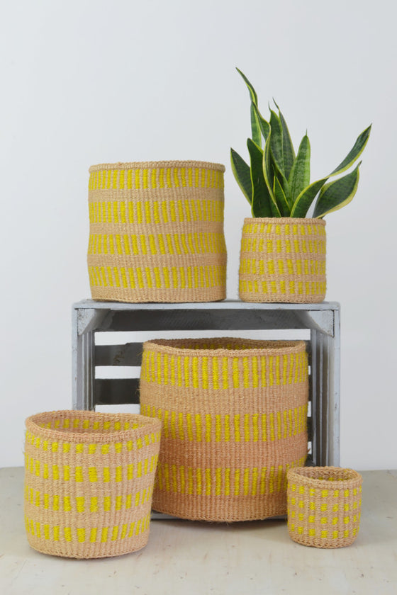 Yellow Stripe Kenyan baskets (choice of 5 sizes) - Baskets and Storage - Decorator's Notebook