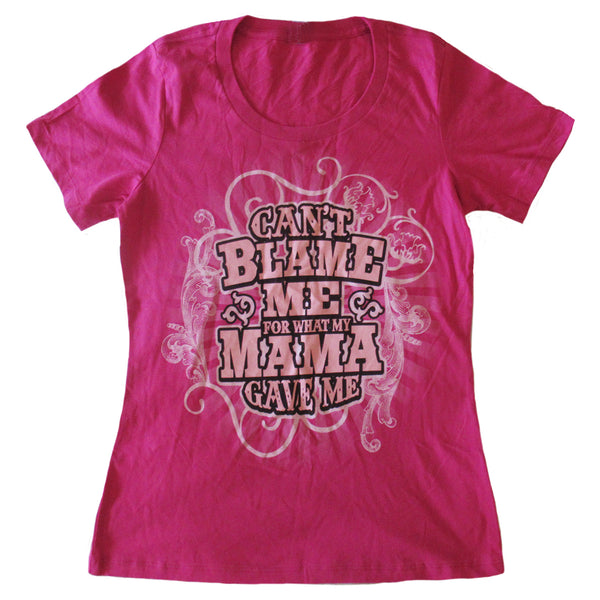 Ladies Fuschia Can't Blame Mama T-Shirt