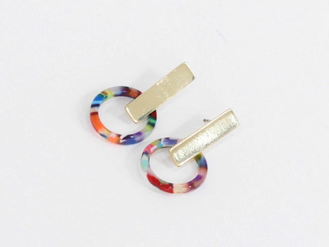 Eva resin earrings-red orange and lilac