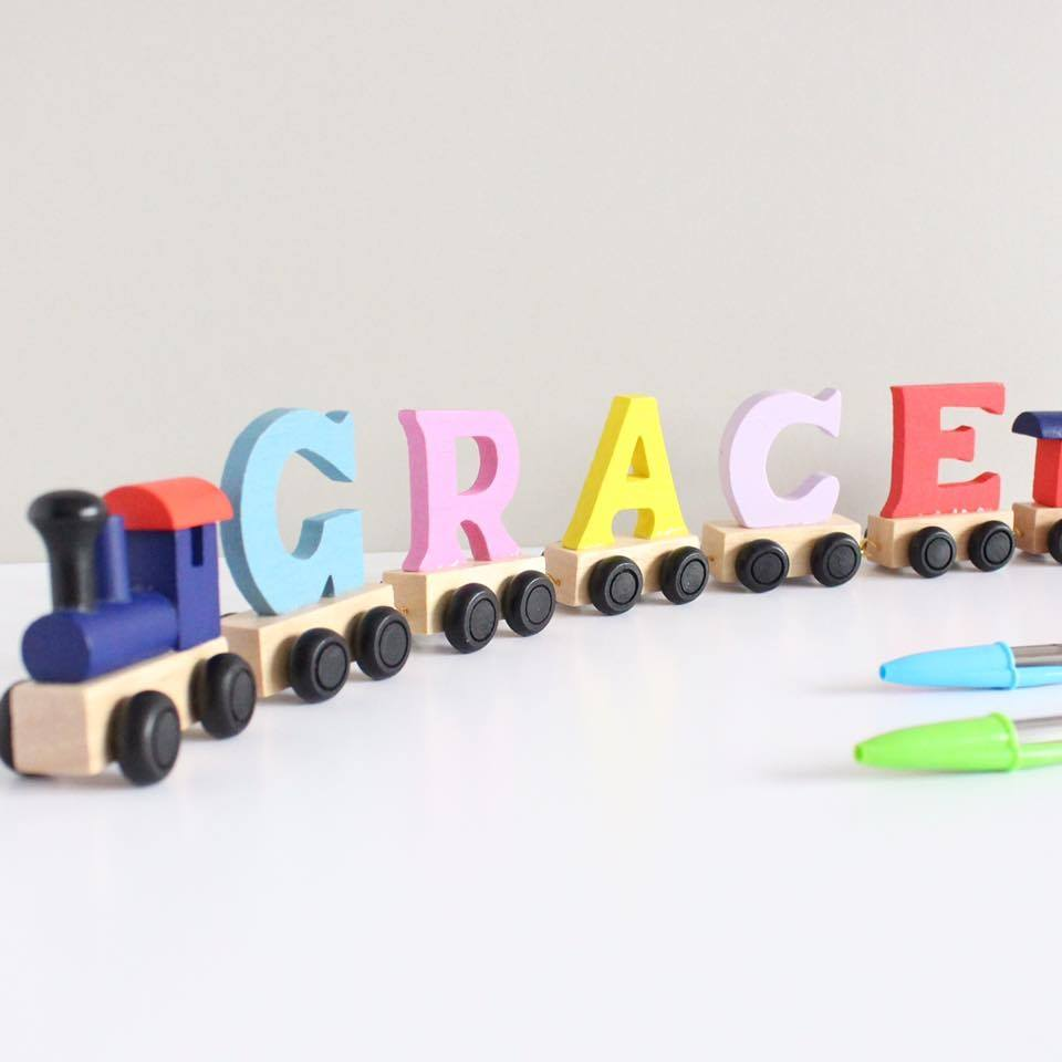 Personalised wooden name trains