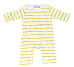 Bob and blossom white and yellow bunting print romper