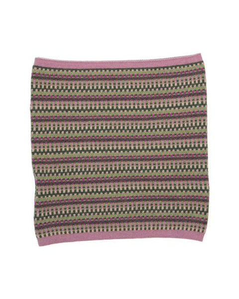 Cashmere Blend Geo Snood  Rose Pink and Verdant Green and Magenta