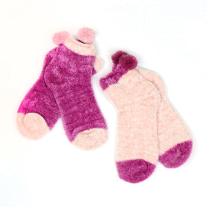 Pink and mauve chenille pom-pom socks