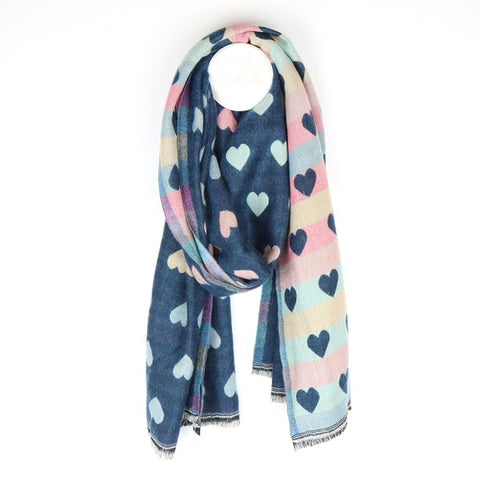 Denim reversible jacquard heart scarf