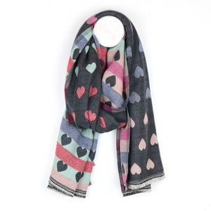 Grey reversible jacquard heart scarf