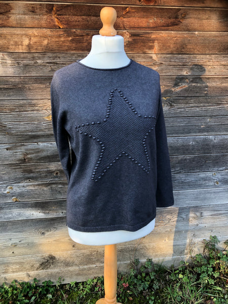 Charcoal grey jumper with star