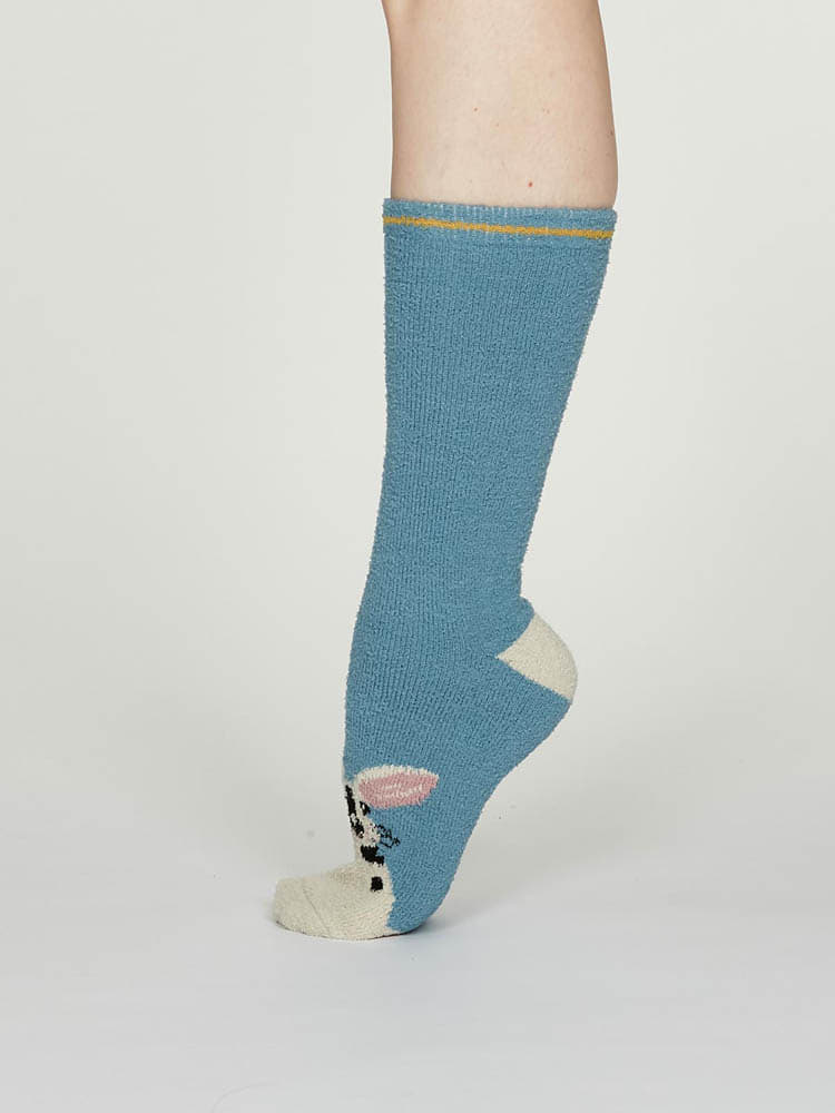 Thought Rebecca Bamboo Fuzzy Socks in Blue