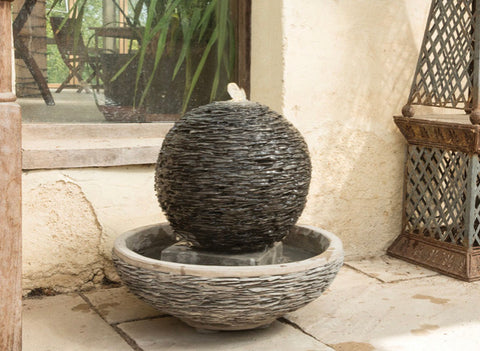 Round slate water feature