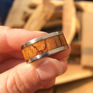 Titanic (Film) Deck Chair Inlay Rings - Stainless Steel & Mahogany