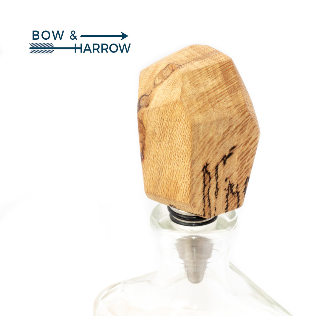 Gem Cut Bottle Stopper - Spalted Sycamore