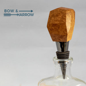 Gem Cut Bottle Stopper - Maple Burl