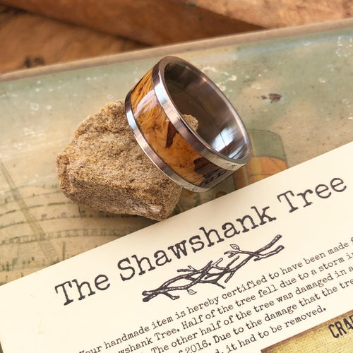 Handmade Wood & Titanium Ring | Shawshank Oak Tree