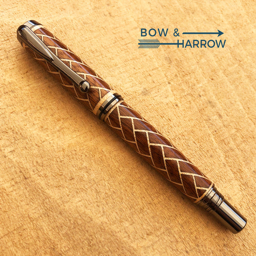 Clooney Fountain Pen | Walnut & Maple Herringbone | Gun Metal