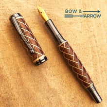 Load image into Gallery viewer, Clooney Fountain Pen | Walnut & Maple Herringbone | Gun Metal