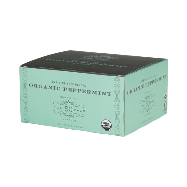 Organic Peppermint, Box of 50 Foil Wrapped Tea Bags