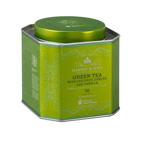 Green Tea with Coconut, Ginger & Vanilla, HRP Tin of 30 Sachets