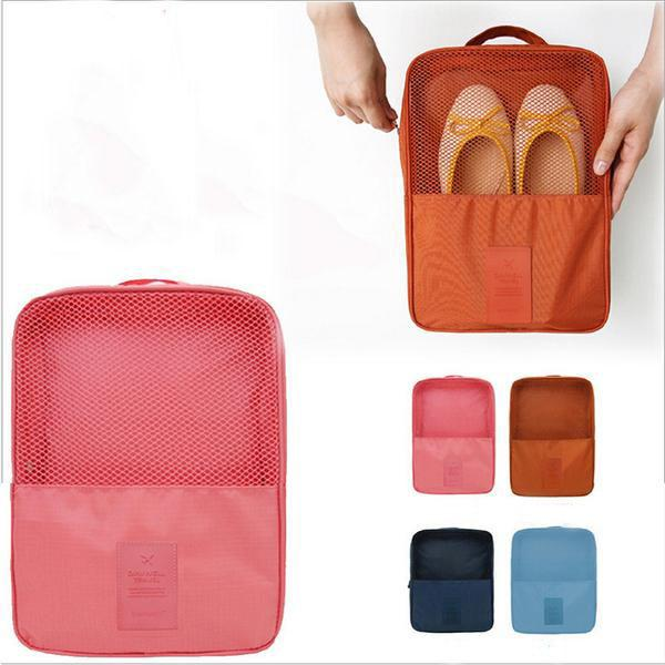 Convenient Multifunction 6 Colors Double Layer Nylon Travel Shoe Sorting Storage Bag