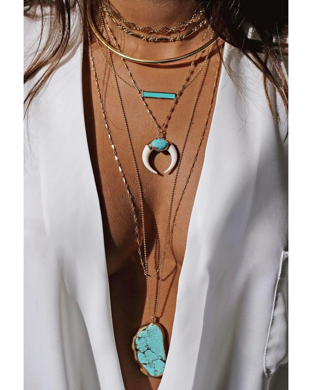 luna necklace - white + turquoise