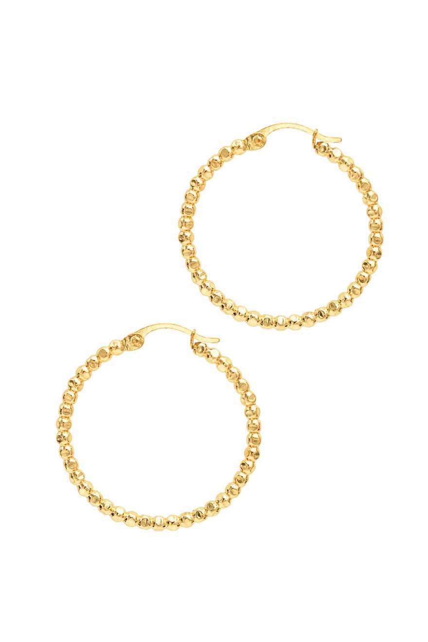 beaded gold filled hoop - large