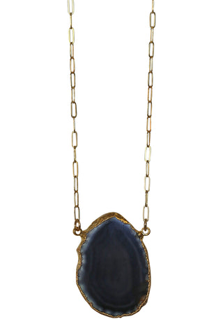 agate slice necklace - black